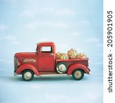 old antique toy truck carrying... | Shutterstock . vector #205901905