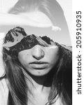 double exposure portrait of... | Shutterstock . vector #205910935
