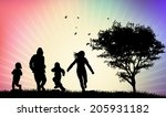 happy family silhouettes | Shutterstock .eps vector #205931182
