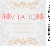 vintage invitation card with... | Shutterstock .eps vector #205935982