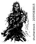 A dirty sketch of a tattoo.A black and white silhouette image of a skull, he is wearing an old leather jacket with spikes, he has black hair, a strange face and a weapon.dirty work with ink. 2d art