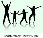 happy family silhouettes | Shutterstock .eps vector #205942402