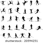 skiing silhouettes | Shutterstock .eps vector #20594251