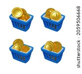 3d blue shopping baskets with...