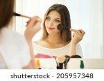 Beauty Woman Applying Makeup....