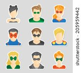 set of comic character... | Shutterstock .eps vector #205959442