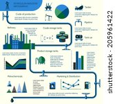 World oil production distribution and petroleum extraction rate infographics diagram layout report presentation design vector illustration