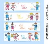 set of banners with  doodle... | Shutterstock .eps vector #205962262