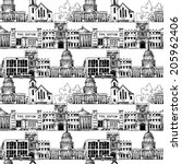 Seamless background with government buildings church museum university in line vector illustration