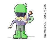 cartoon man smoking pot | Shutterstock . vector #205971985