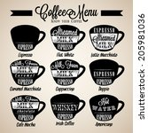 set of coffee menu with a cups... | Shutterstock .eps vector #205981036