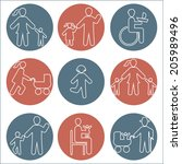 silhouette people icon white... | Shutterstock .eps vector #205989496