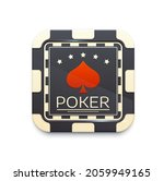 casino chip icon with poker...