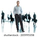 business man standing on... | Shutterstock . vector #205995358