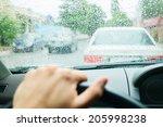 Rain Drops On Car Glass In...