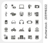 electronic and gadget icons set | Shutterstock .eps vector #205998322