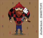 a woodcutter with an axe on the ... | Shutterstock .eps vector #2060075195