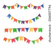 vector illustrated flag garland. | Shutterstock .eps vector #206007796