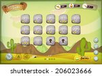 Desert Game User Interface Design For Tablet/ Illustration of a funny cartoon mexican western desert graphic game user interface background, with basic buttons, status bar, for wide screen tablet