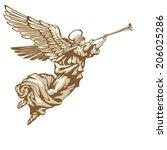 trumpeting angel in three... | Shutterstock .eps vector #206025286