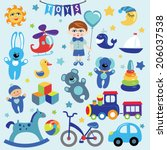 a set of cute toys icons for... | Shutterstock .eps vector #206037538