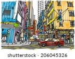 hong kong city street  ... | Shutterstock .eps vector #206045326