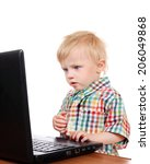 Baby Boy With Laptop Isolated...