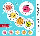 hand drawn cute sun icons... | Shutterstock .eps vector #206049922