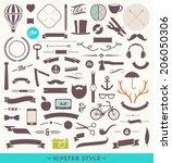 hipster style vector set  ... | Shutterstock .eps vector #206050306