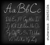 chalk board hand drawn alphabet. | Shutterstock . vector #206052106