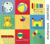 nine colorful toy icons with... | Shutterstock .eps vector #206053822