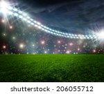 soccer ball on green stadium...   Shutterstock . vector #206055712