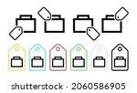 suitcase vector icon in tag set ...
