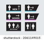 set of toilet signs on white...   Shutterstock .eps vector #2061149015
