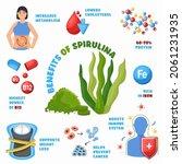 spirulina algae health benefits ... | Shutterstock .eps vector #2061231935