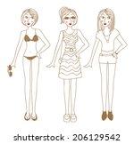 summer girl | Shutterstock .eps vector #206129542