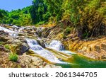 Small photo of River waterfall in the mountains. Mountain river waterfall. River waterfall in mountain forest