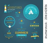 summer retro design elements.... | Shutterstock .eps vector #206142856