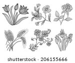 set of 6 elegant decorative... | Shutterstock .eps vector #206155666