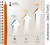 Education pencil Infographics graph and diagram option. Vector illustration.  - stock vector