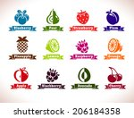 set of fruits and berries icons ...   Shutterstock .eps vector #206184358