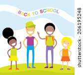 happy kids vector illustration. ... | Shutterstock .eps vector #206195248