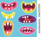 monster mouths set | Shutterstock .eps vector #206195392
