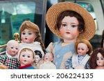 Old Dolls At Flea Market