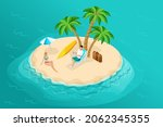 isometric paradise island in... | Shutterstock .eps vector #2062345355