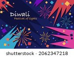 colourful diwali fireworks.... | Shutterstock .eps vector #2062347218