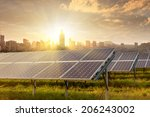 solar panels against city view... | Shutterstock . vector #206243002