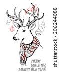hand drawn christmas deer | Shutterstock .eps vector #206244088