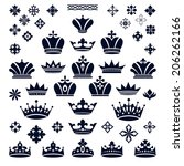 set of crowns and decorative... | Shutterstock .eps vector #206262166