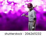 baseball player on a pink...   Shutterstock . vector #206265232